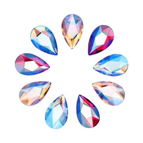 Swarovski Pear Flatback Crystal Shimmer Mix Scarlet Red Aquamarine Blue Vintage Rose Silk Fall Nail Art