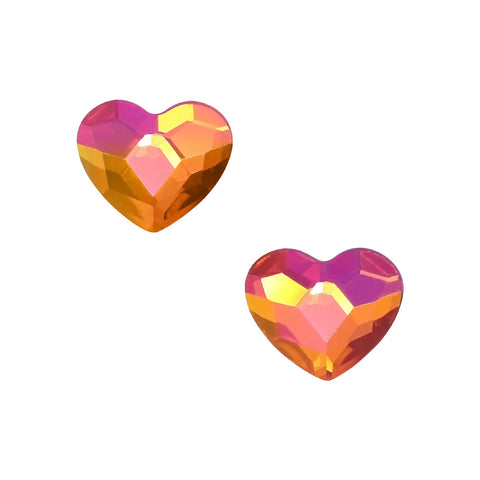 Swarovski 2808 Heart Flatback Rhinestone / Astral Pink Red Fuchsia Orange Valentines Day Nail Crystal
