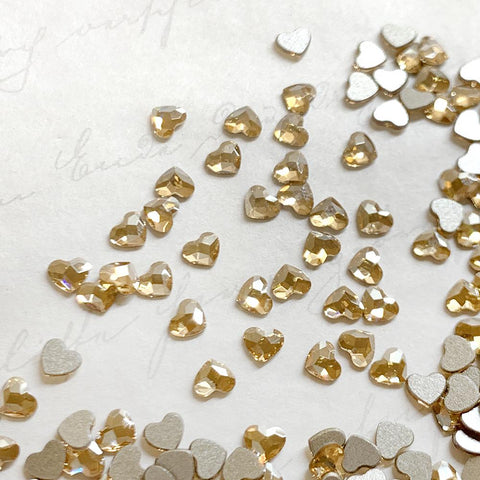 Swarovski Heart Flatback Rhinestone / Golden Shadow 2808