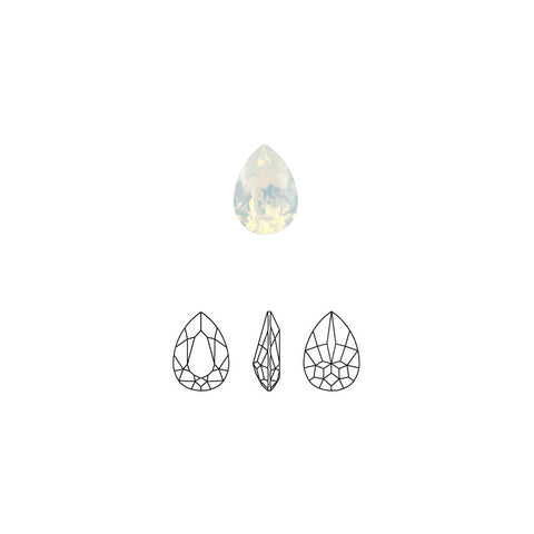 Swarovski Pear Fancy Pointed Back Rhinestone / White Opal