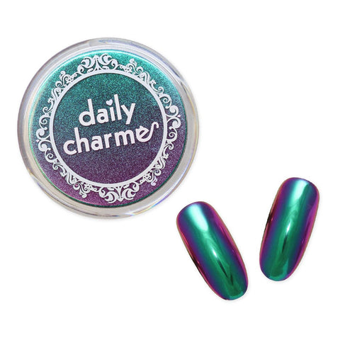 Chameleon Color Shifting Chrome Powder Nail Art / Artemis Green