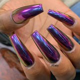 Chameleon Chrome Powder Hera Violet Nail Art by @1145.nails