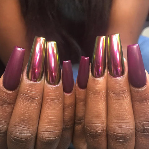 Chameleon Chrome Nails Aphrodite Pink by @1145.nails Daily Charme Powder