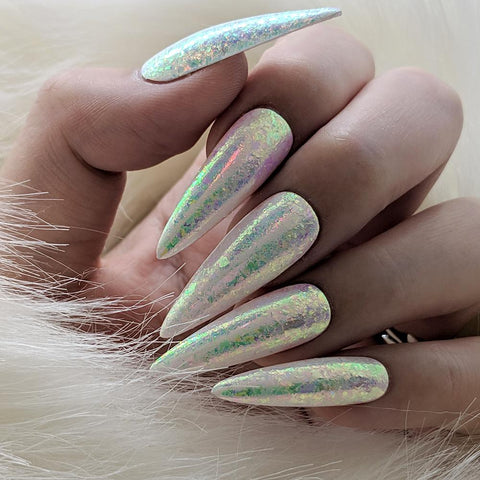 Iridescent Flake Aurora Unicorn AB Rainbow Effect Nail Art
