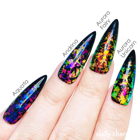 Iridescent Mermaid Flake / Aquata Purple Blue Chameleon Color Shifting Nails