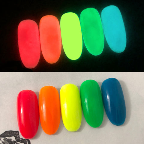 Glow in the Dark Pigment / Neon Yellow Nails