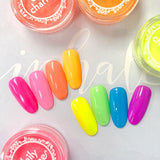 Electric Neon Pigment / Blue Rainbow Nail Art for Summer