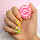 Electric Neon Pigment / Pink Nail Art Rainbow Design