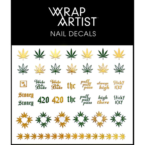 WrapArtist Nail Decals / Bake Sale Weed Leaf Gold Design