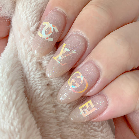 Nail Vinyl Sticker / Designer Luxury / Aurora Pink Chanel Gucci LV Inspired