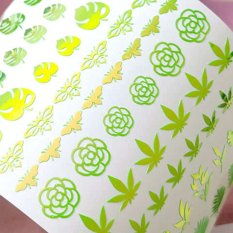 Vinyl Film Sticker / Botanical Garden Weed Leaf / Chameleon Lime