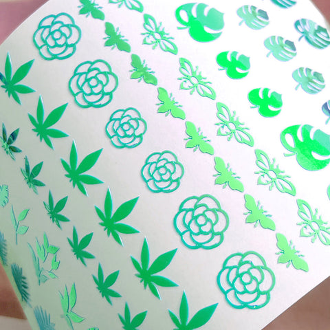 Vinyl Film Sticker / Botanical Garden Weed Leaf / Chameleon Green