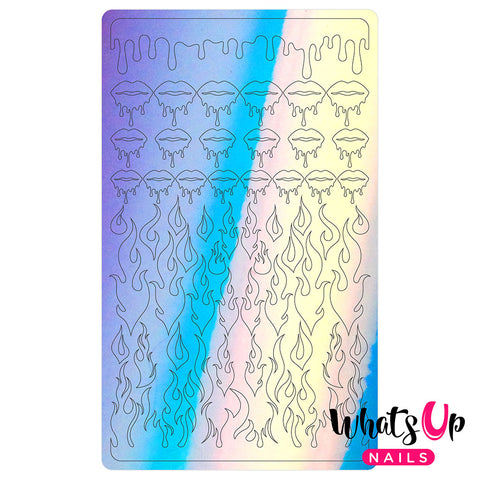Vinyl Film Sticker / Dripping Flames Hot Girl Drip Nails / Aurora Blue