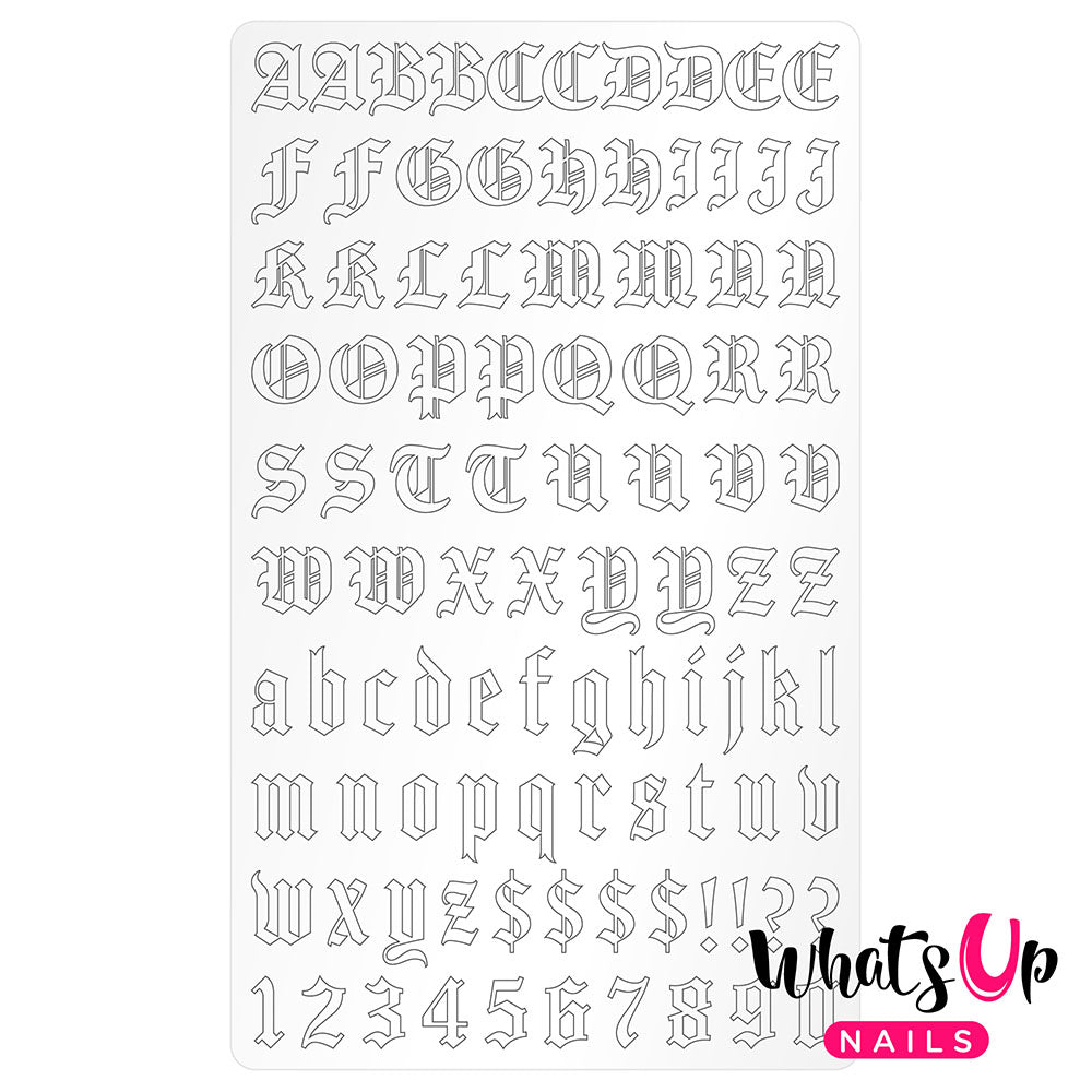 Vinyl Film Sticker / Blackletter Alphabet Old English Font / Matte White
