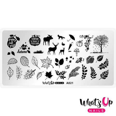 Daily Charme Nail Stamping Plates Whats Up Nails / Leaf Pile Fall Nail