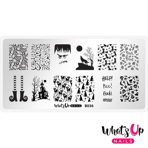 Halloween Stamping Plate Whats Up Nails - B036 Eeks and Screams