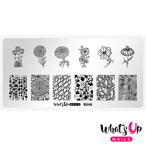 Whats Up Nails Stamping Plate / Petal to the Metal Floral Print