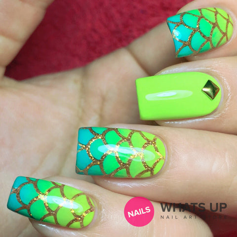 Daily Charme Nail Art Supply Nail Vinyls Sticker Stencil Whats Up Nails / Scale (Mermaid) Stencils