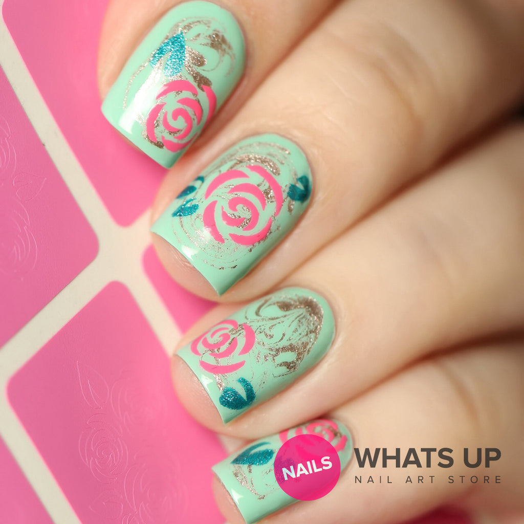 Daily Charme Nail Art Supply Nail Vinyls Sticker Stencil Whats Up Nails / Roses Stencils