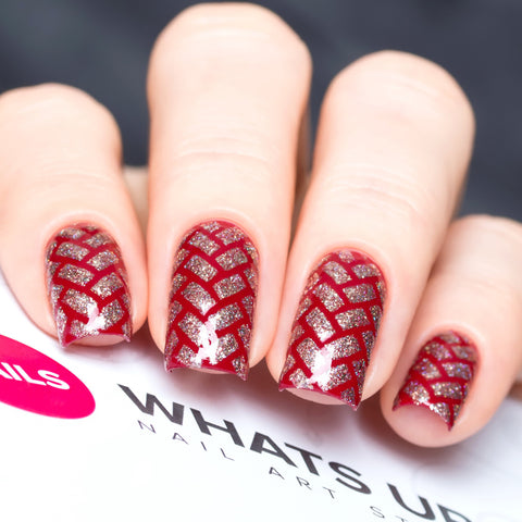 Daily Charme Nail Art Supply Nail Vinyls Sticker Stencil Whats Up Nails / Herringbone Stencils