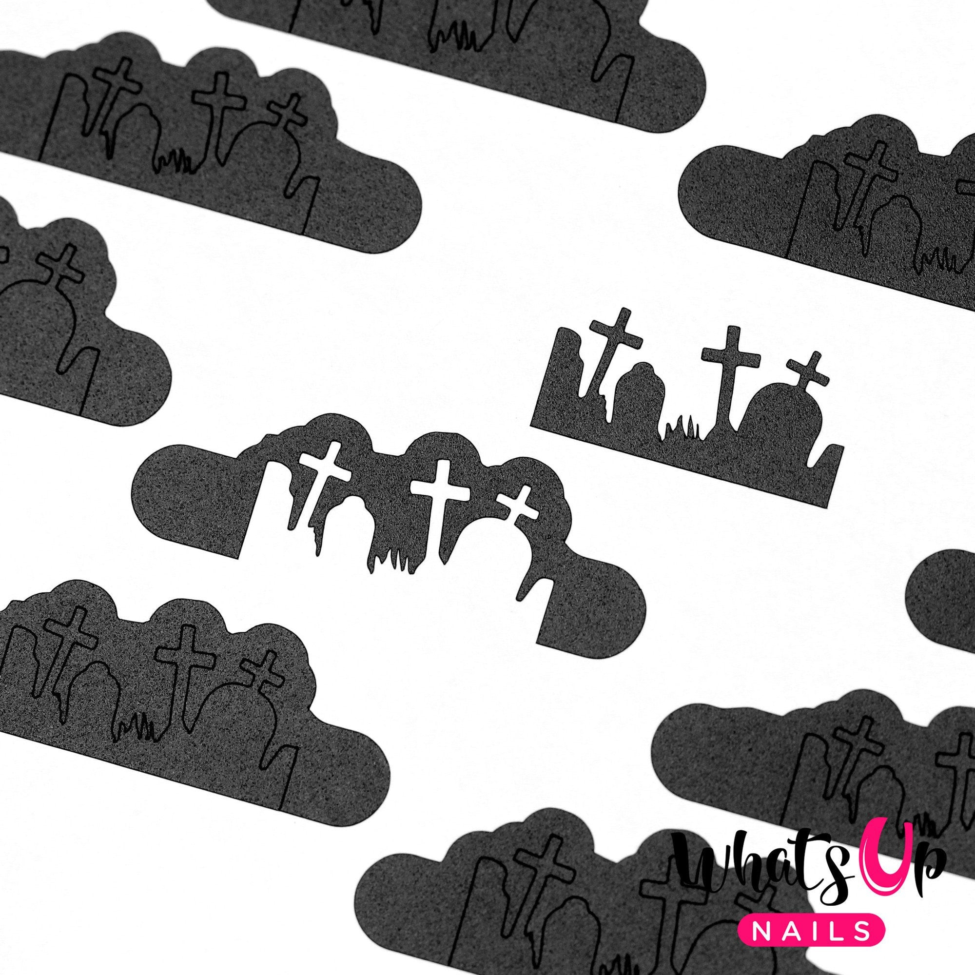 Daily Charme Nail Art Supply Nail Vinyls Sticker Stencil Whats Up Nails / Graveyard Stencils