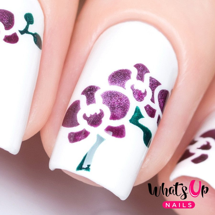 Daily Charme Nail Art Supply Nail Vinyls Sticker Stencil Whats Up Nails / Orchid Stencils by Solo_Nails