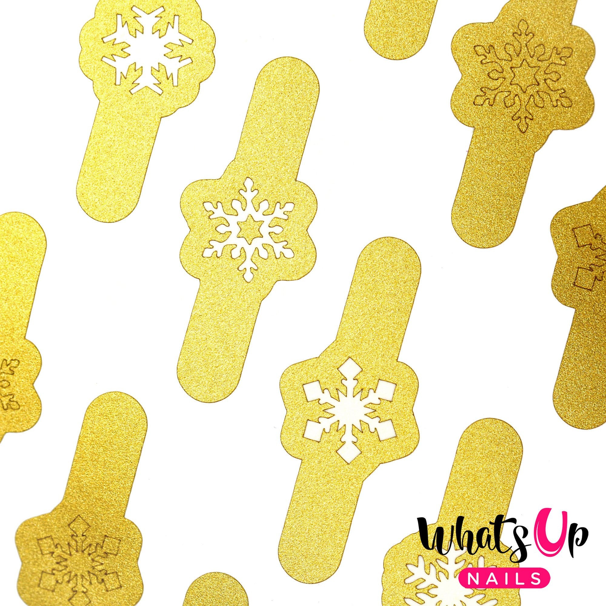 Daily Charme Nail Art Supply Nail Vinyls Sticker Stencil Whats Up Nails / Merry Snowflakes Stickers & Stencils / Gold