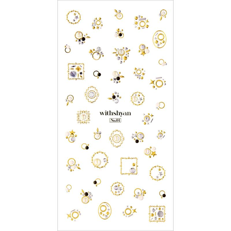 Withshyan 3D Crystal Nail Sticker 01 Classic Korean Nail Art
