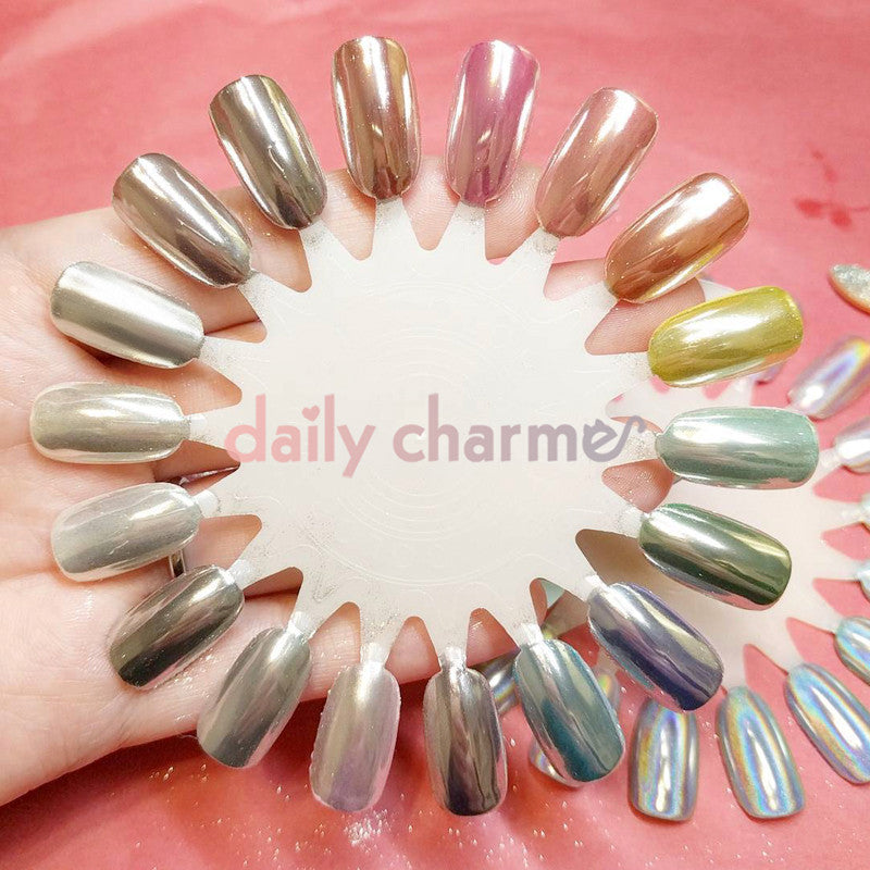 Mirror Nail Chrome Magic Powder Swatch - Daily Charme