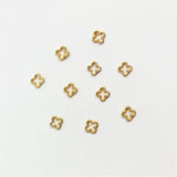 Nail Art Decoration - Beaded 4mm Clover Frame / Gold