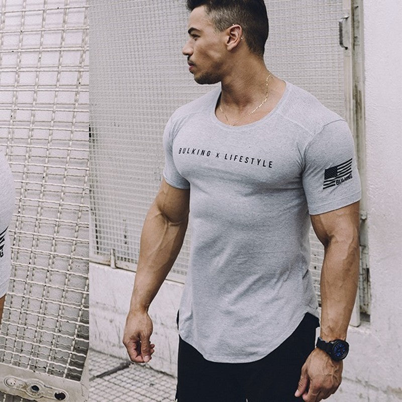 Fashion Fitness t Shirt Bodybuilding Muscle Male Short sleeve