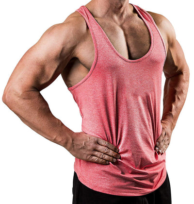 Sleeveless mens gyms stringer tank top