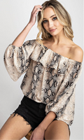 Snakeskin Off-Shoulder Blouse