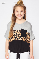 Kids Leopard Color Block Top