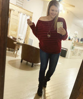 Burgundy Slouch Shoulder Top