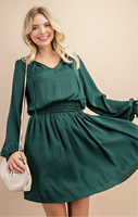 Hunter Green Smocked Waist Dress