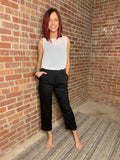 Black Elastic Waits Crop Pants