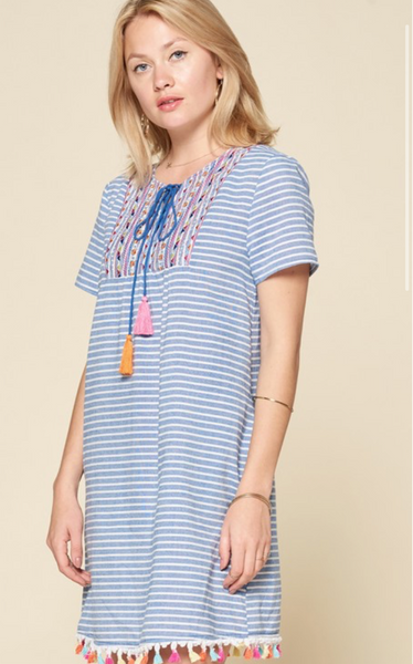 Blue Stripe Tassel Dress