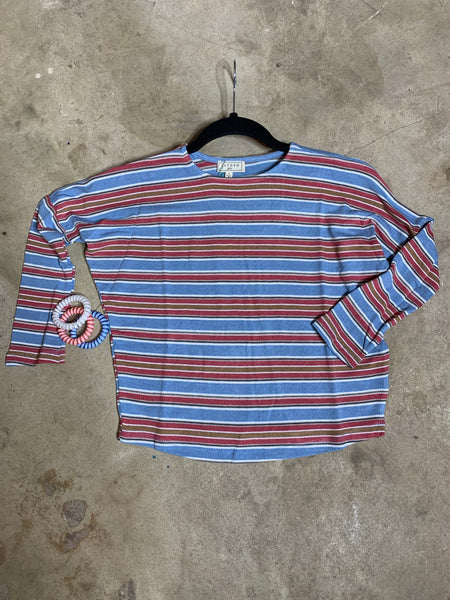 Girls Blue/Pink Stripe Top