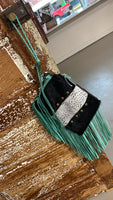 Cowhide and Leather Fringe Wristlet/Clutch