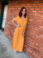 Mustard T-Shirt Maxi Dress w/pockets