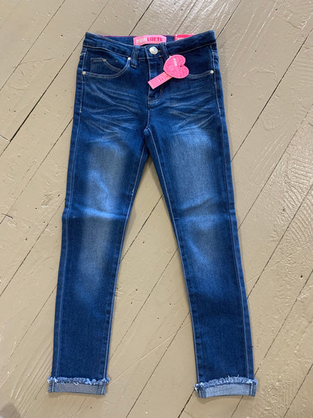 Girls Denim Basic Jeans w/Roll up Frey Hem