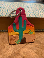 Cactus Cow Tag Keychain