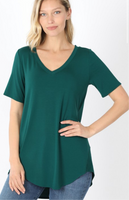 Deep Green Super Soft V-Neck Tee