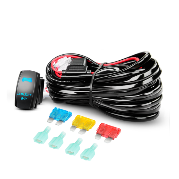 Nilight 14AWG Heavy Duty Wiring Harness Kit 12V with 5Pin Laser On off LED Light Bar Rocker Switch -2 Leads