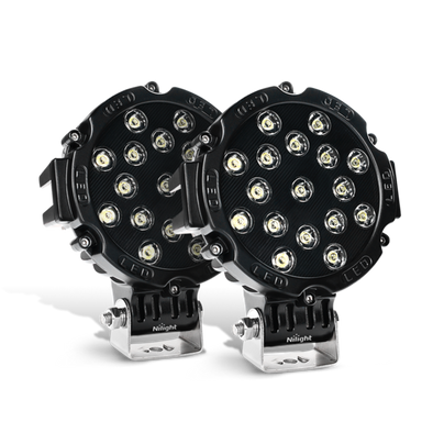 Nilight 2PCS 7 Inch Round 51W Spot LED Lights