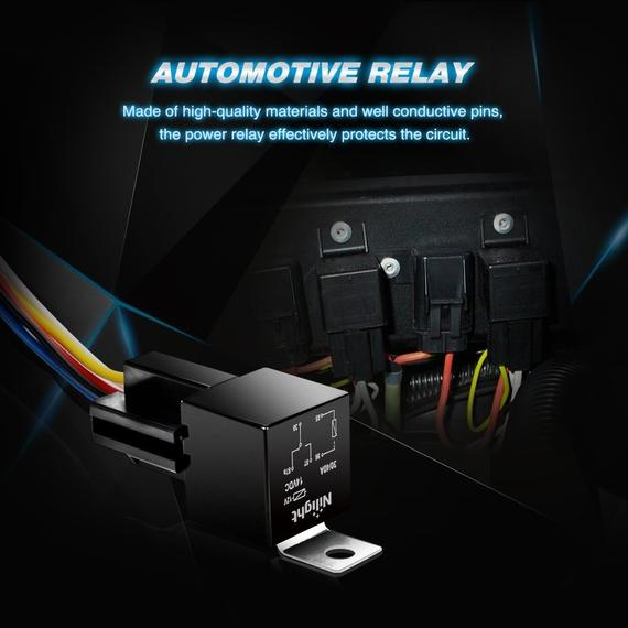 Nilight Automotive Relay Harness Set 5-Pin 30/40A 12V SPDT with Interlocking Relay Socket & Wiring Harness