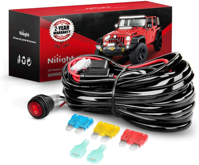 Nilight 14AWG Heavy Duty LED Light Bar Wiring Harness Kit 12V- One Lead