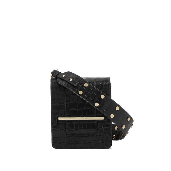 Box bag in black croc embossed leather