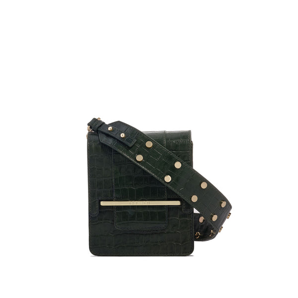 Box bag in forrest green croc embossed leather